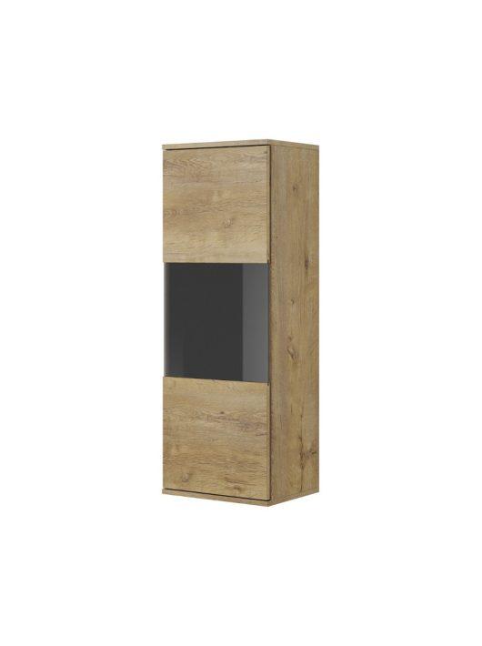NEST W-1 Vitrin szekrény Lefkas tölgy - Fekete
