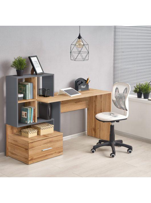 Grosso íróasztal wotan tölgy - antracit szürke