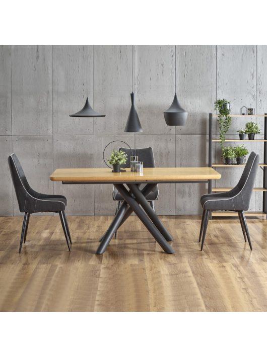 Derrick Bővíthető Étkezőasztal 160-200cm Natúr tölgy - Fekete