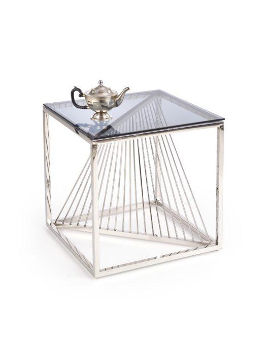 Infinity négyzet alakú üveg dohányzóasztal Füstös
