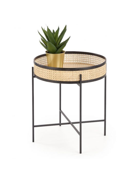 Lanipa dohányzóasztal Fekete - Natúr rattan