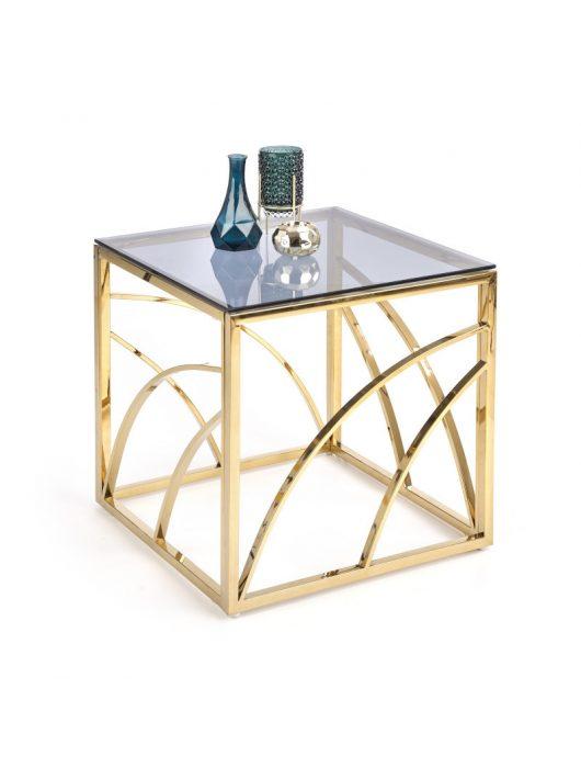 Universe négyzet alakú üveg dohányzóasztal Füstös - Arany