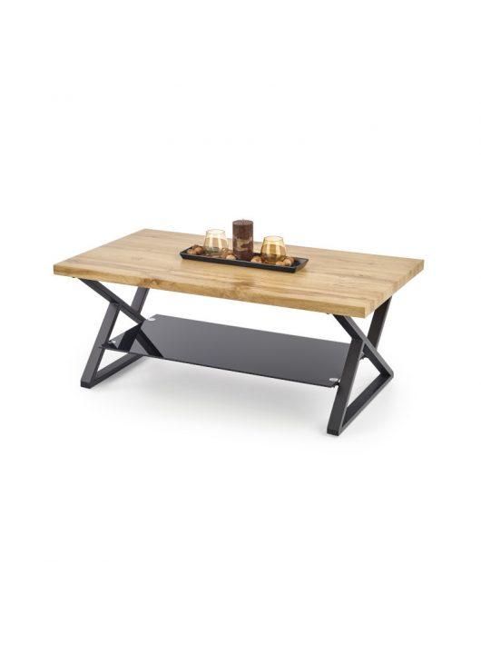 Xena téglalap alakú üveg dohányzóasztal Natúr Tölgy - Fekete