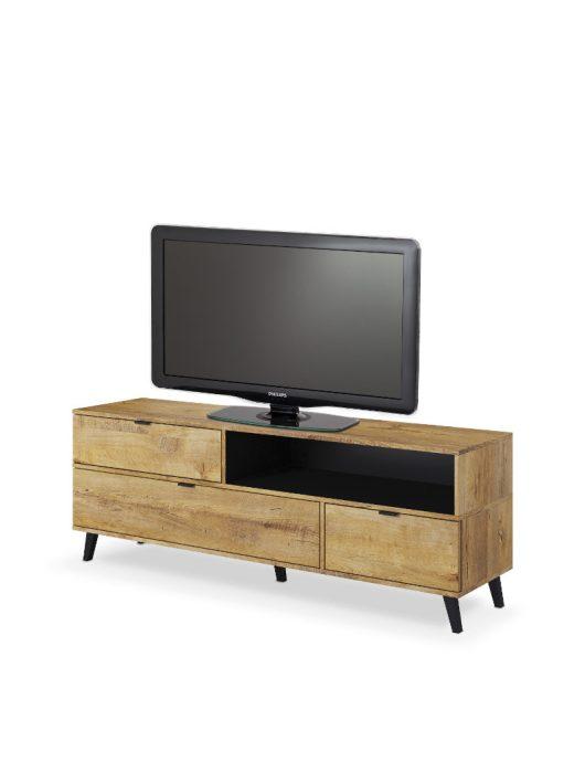 NEST RTV-1 TV-állvány Lefkas tölgy - Fekete