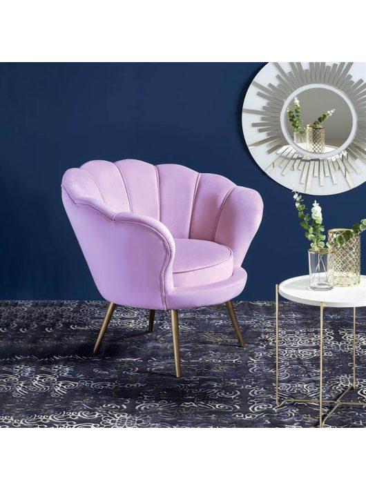 Amorino fotel lila szövet kárpitozással, arany lábakkal