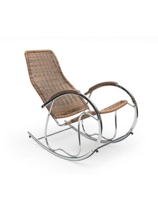 Cikkszám: 201209340984 Ben Krómvázas hintaszék mürattan ülőfelülettel, krómacél vázzal