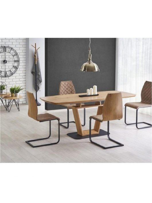 Blacky Összecsukható Asztal 160-220 cm Arany Tölgy Fekete