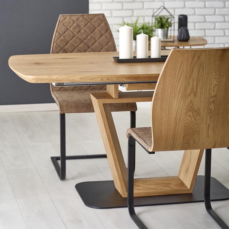 Blacky 2 Összecsukható Asztal 160 220cm Natúr Tölgy Fekete