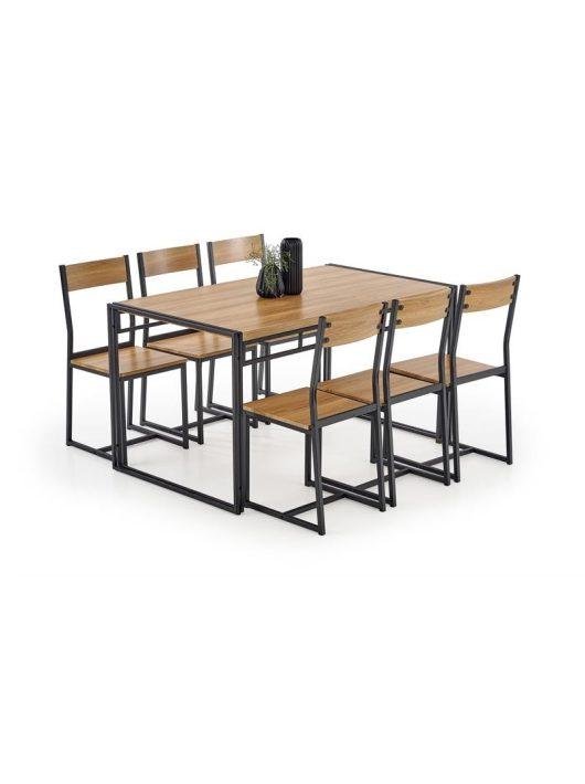 Bolivar Négyszögletes Asztal + 6 Szék Arany Tölgy-Fekete - Étkezőgarnitúrák webáruházak