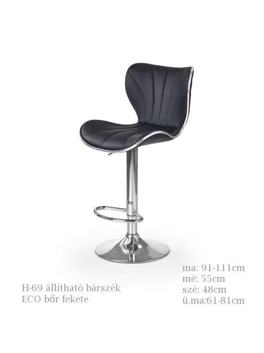 H-69 bárszék fekete színben