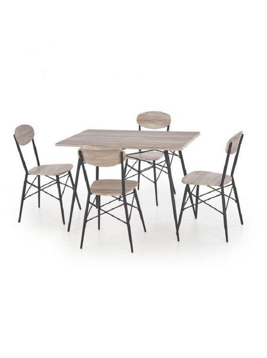 Kabir Négyszögletes Asztal + 4 Szék San Remo-Fekete