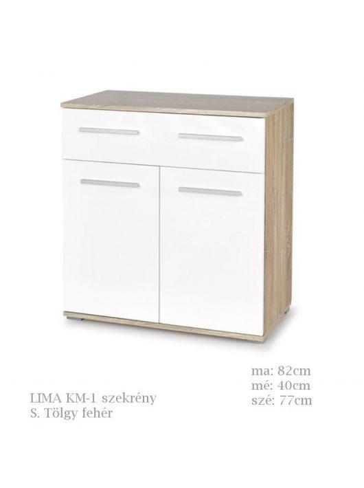 LIMA KM-1 komód Sonoma Tölgy fehér színben