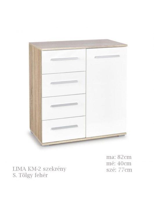 LIMA KM-2 komód Sonoma Tölgy fehér színben