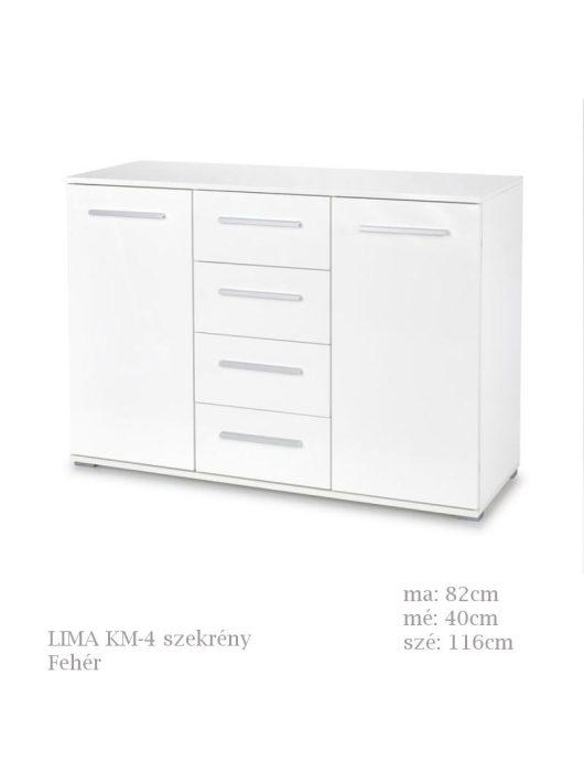 LIMA KM-4 komód fehér színben