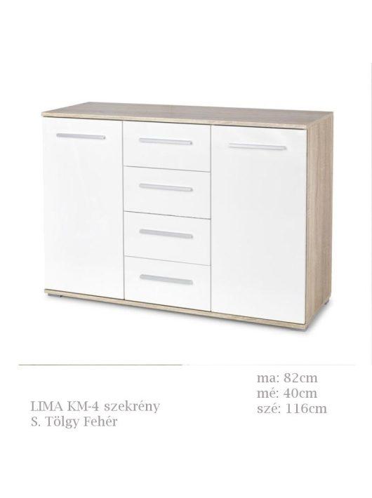 LIMA KM-4 szekrény Sonoma Tölgy fehér színben