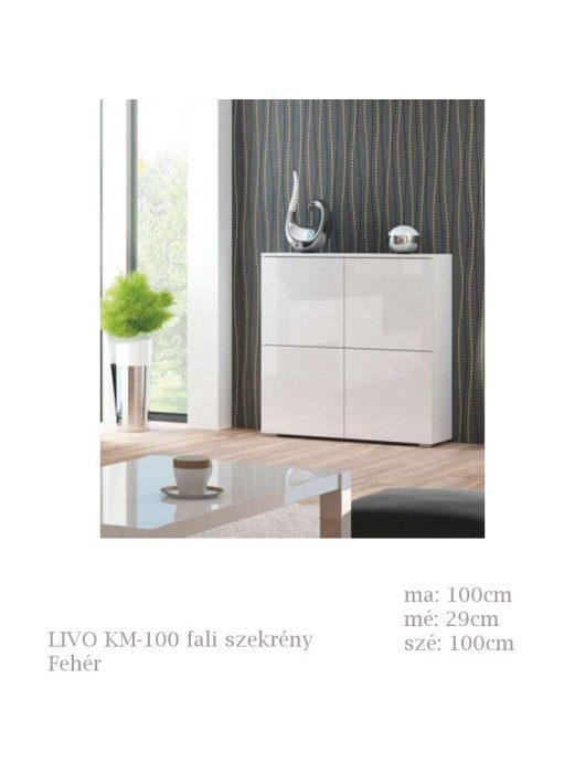 LIVO KM-100 szekrény fehér színben