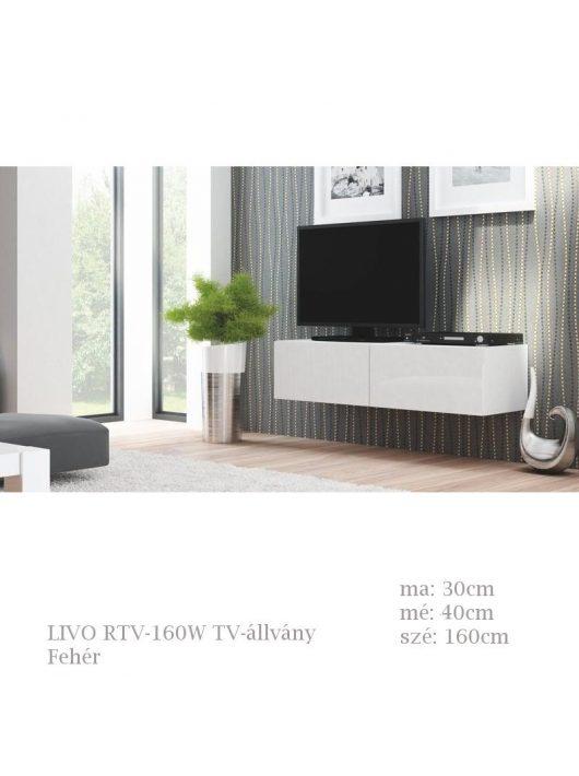 LIVO RTV-160W TV-állvány fehér színben