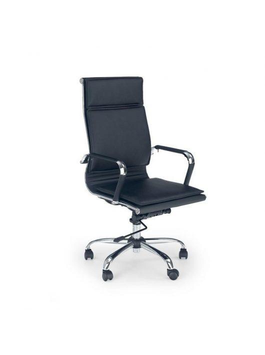 Mantus főnöki forgókarosszék fekete textilbőr háttámlával és ülőfelülettel.