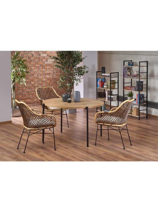 Morgan Étkezőasztal arany tölgy/fekete 120x76cm - Fa étkezőasztalok webáruház