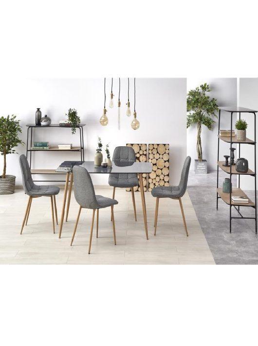 Next Étkezőasztal füstös üveg/mézes tölgy 130x75cm - Fa étkezőasztalok webáruház
