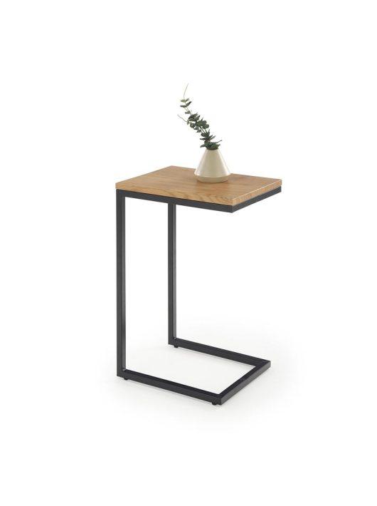 NISA arany tölgy/fekete lerakóasztal- Fa és Műanyag Dohányzóasztalok webáruház