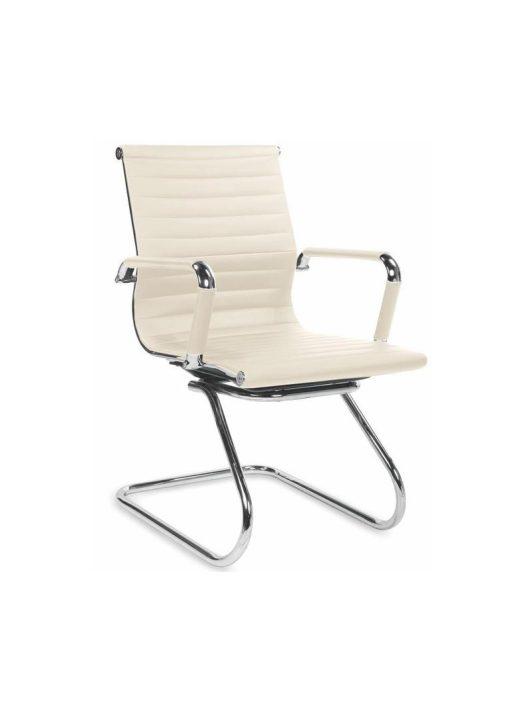 PRESTIGE SKID tárgyalószék textilbőrből kialakított ülőfelülettel és háttámlával, krómacél vázzal.