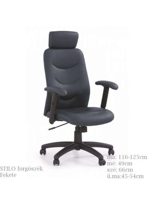 STILO FEKETE állítható karfás, magas háttámlás, ergonomikusan kialakított főnöki forgószék.